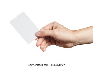 Hand holding a blank ticket, isolated on white background