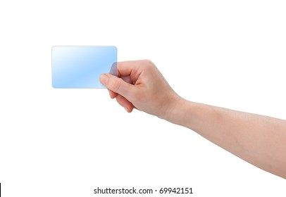 Hand holding blank transparent blue plastic business card with copy-space, isolated on white