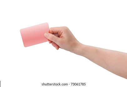 Hand holding blank transparent red plastic business or credit card with copy-space, isolated on white