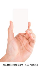 Hand holding blank, white business card, isolated on white background.