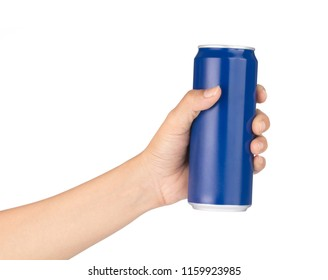 hand holding Blue aluminum cans isolated on white background