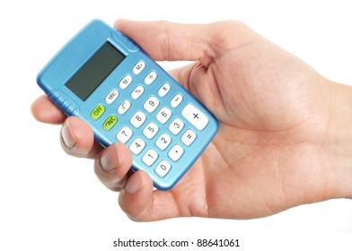 hand holding a blue calculator on white background