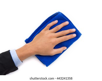 hand holding blue cleaning rag isolated on white background.