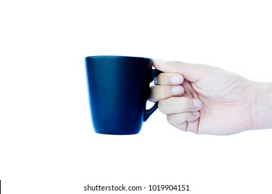 Hand holding blue cups Isolated on white backgrounds