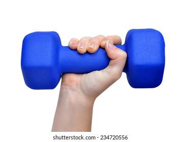 Hand holding blue fitness dumbbell isolated on white background