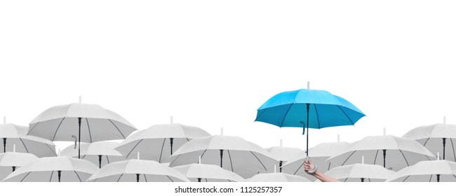 Hand holding blue sky umbrella over white umbrellas, Leadership of business concept, Isolated on a white background.