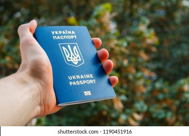 Hand holding blue ukrainian passport on the green trees background. Male hand holding Ukrainian foreign passport for traveling