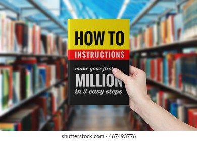 A hand holding a book titled 'How to Make Your First Million in 3 Easy Steps'.