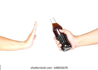 Hand holding a bottle of cola to giving and another hand rejected   on white background