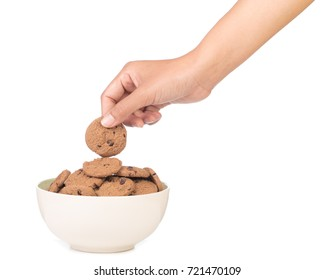 hand holding bowl of chocolate chip cookie isolated on white background