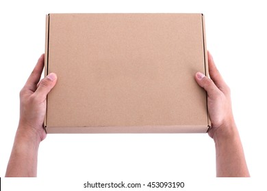hand holding box cardboard delibery
