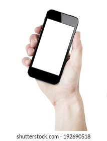 Hand holding a brand new smartphone in curved position with white blank screen. isolated on white.