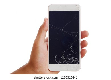 hand holding a broken screen of smartphone mobile isolated on white background.