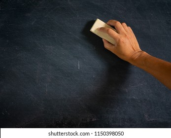 Hand holding brush eraser and blackboard , Concept education and school , background or copy space for add text message.