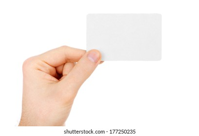 Hand holding blank business card clipping stock photo edit now hand holding a business card isolated on white colourmoves