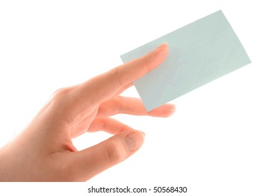 Hand holding a business card. Isolated on white background.