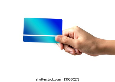 hand holding a business card on white background