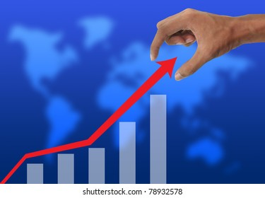 Hand holding and business graph