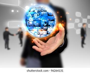 hand holding business world