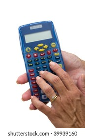 A hand holding a calculator on a white background, number crunching