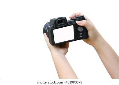 hand holding camera ,isolate white background