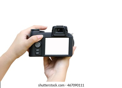 hand holding camera  ,isolate white background with clipping path around and screen
