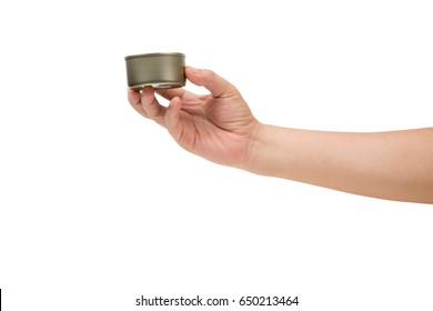 hand holding canned food isolated on white.