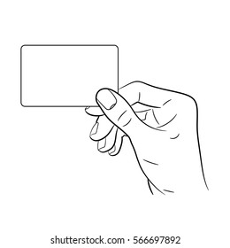 Hand holding a card on white background of monochrome illustration