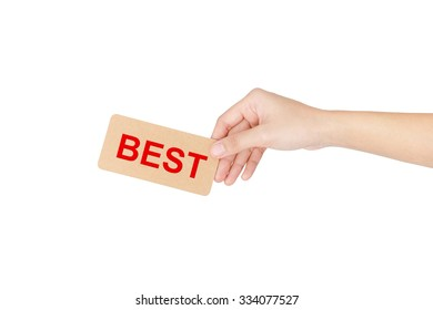 """Hand holding card with red word of """"Best"""" isolated on white with clipping path."""