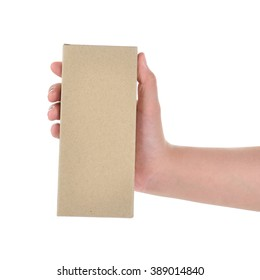 hand holding cardboard box isolated on a White background