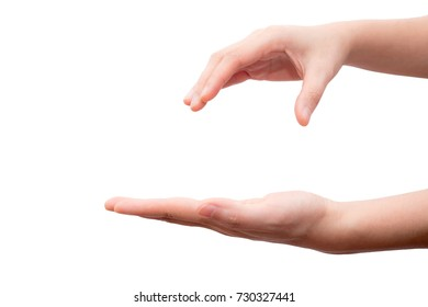 Hand holding and catching something isolated on white background. This picture has clipping path for easy to use.
