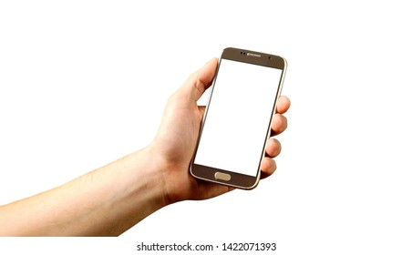 Hand Holding - Cell phone in hand blank screen image