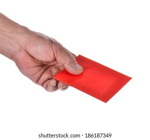 Hand holding Chines Red Envelope