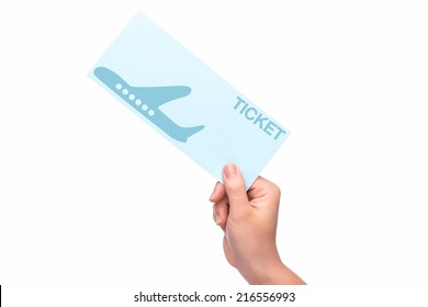 hand holding christmas fly air tickets over white background