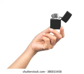hand holding cigarette lighter isolated on white background