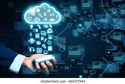 hand holding cloud computing