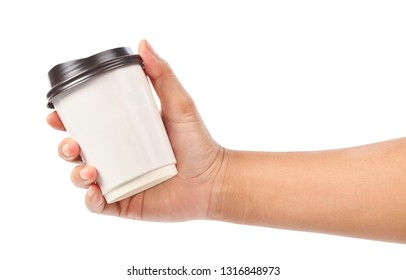 Hand holding a coffee cup isolated on white background, Save clipping path.