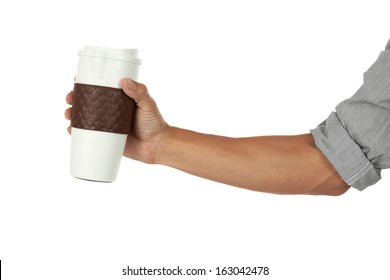 Hand holding a coffee mug out to the side