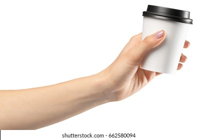 hand holding a Coffee paper cup isolated on white background