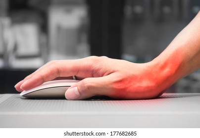 Hand holding computer mouse having wrist pain caused by incorrect posture