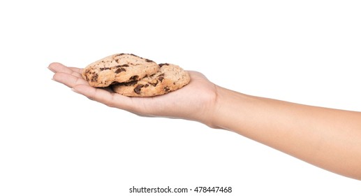 hand holding cookies Chocolate biscuits  isolated on white background