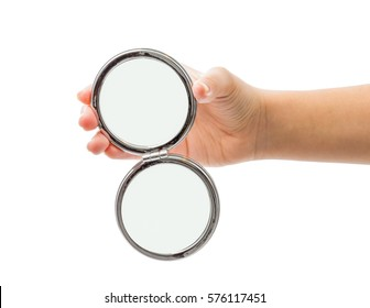 hand holding mirror. Hand Holding Cosmetic Mirror Isolated On White G