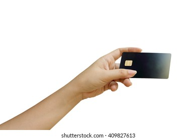 hand holding credit card ,isolate white background