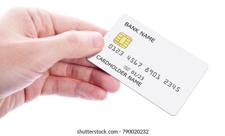Hand holding credit card, isolated on white background