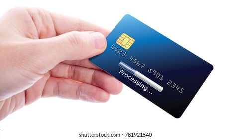Hand holding credit card with processing bar on it, isolated on white background