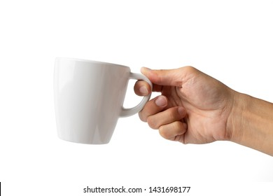 hand holding cup on white background