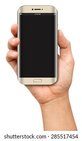 Hand holding Curve Screen Smartphone with blank screen on white background