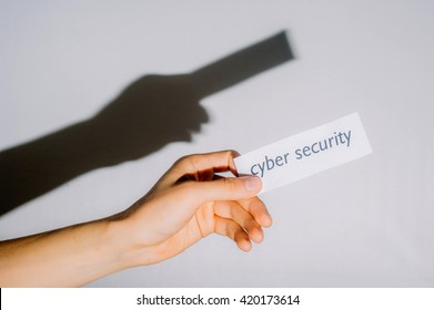 Hand holding cyber security sign