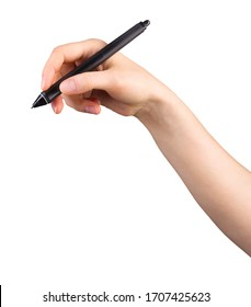 Hand holding digital graphic pen and drawing something isolated on white background with clipping path