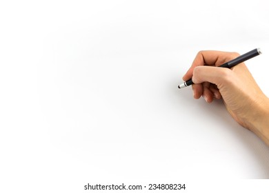 Hand holding digital stylus isolated on white background